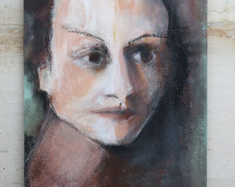 Portrait of a Woman - Original Mixed Media Painting on Bristol Paper