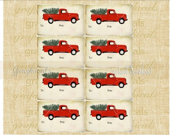 Old red truck Christmas tags Instant clip art Digital download images Print your own Gift hang tags Cards Ornaments Decorations HT5009