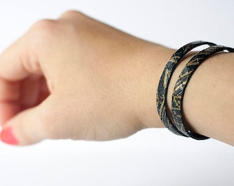 Leather Bracelet / Double Strand Cuff / Victorian