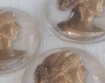 Vintage Glass Cabochon. 1900s Rare GOLD GODDESS ANTIQUE cameo intaglio 20mm (1)