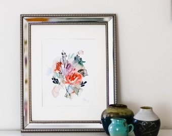 Abstract Floral Watercolor Original (9 in. x 12 in.)