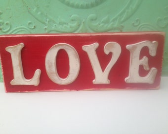 Red and White Love Shelf Sitter or Mantle Sign, Wooden Rustic Love Sign, Home Decor Love Sign