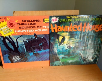 Two Vintage Disneyland Disney Records Haunted House Sounds 1979 Retro LP Halloween Party