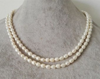PEARL Necklace- 2 rows 4-5 mm white freshwater pearl necklace, free shipping