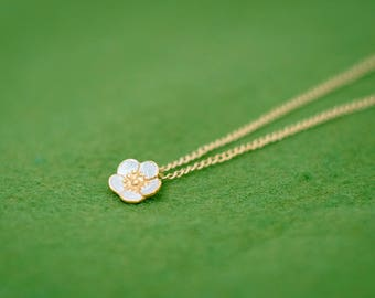 Plum blossom necklace - Ume - Japanese jewelry - Japanese flower - Silver and gold combination - Pendant and chain set - free shipping