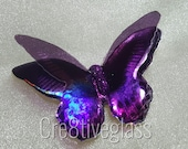 Purple and Black with pink edges to wings iridescent 3D resin butterfly