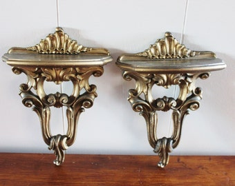 vintage pair of syroco wall shelves, rococo style