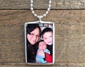 Keepsake Custom Silver Necklace, Personalized Memory Charm Necklace, Custom Keepsake Soldered Glass Photo Pendant/Necklace, Reversible