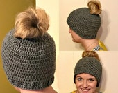 SALE Crochet Bun Hat, Ready To Ship, Messy Bun Hat, Adult, Teen, Ponytail Hat, Winter Ponytail Hat, Christmas Gift, Runner Ponytail, Blac...