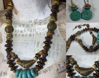 African Inspired Necklace, Handmade African Glass Beads, Buri Nut Beads, Horn Beads, African Brass Lost Wax Cast Beads, Turquoise Howlite