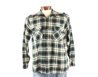 Vintage 70s Pendleton Wool Plaid Shirt Long Sleeve Button Up Flannel 1970s Mens size Large