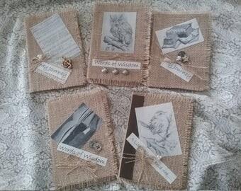 Journal Burlap -  Handmade