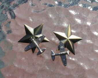 Star Airplane Military Earrings