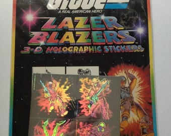 SALE Rare Vintage Lazer Blazers Colorforms G.I. Joe Hologram Stickers - 80's American Hero Armed Services New in Package Collectible