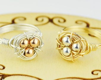 Birds Nest Wire Wrap Ring-Choice of Silver, Rose, Or Yellow Gold Eggs and Silver, Rose, or Yellow Gold Wire- Size 4,5,6,7,8,9,10,11,12,13,14