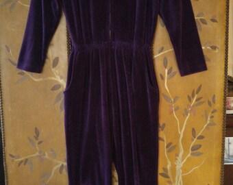 90s purple velour pantsuit by Nordstroms