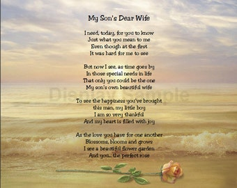 My Son's Dear Wife Sentimental  Print   Perfect For Framing Daughter in law, daughter-in-law gift