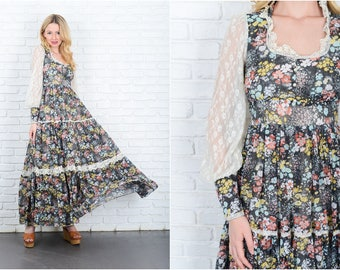 Vintage 70s Black Hippie Boho Dress White Sheer Sleeve victorian XXS 9328