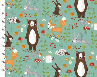 Forest Animals on Mint Green from 3 Wishes Fabric's Forest Friends Collection