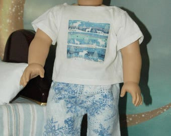 American, made, doll, pajamas, flannel, 18 inch doll