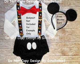 Mickey Mouse Birthday outfit cake smash Suspenders black diaper Cover FREE EARS Red bow tie clubhouse costume photo 12 18 24 toddler SALE