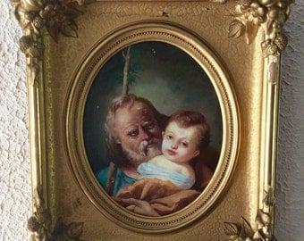 Sale Antique Vintage Oil Painting Portrait of a Man & Child Biblical Religious Art O/WP Gold Gilt Frame Home Decor