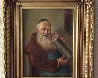 Sale Antique Vintage Oil Painting Portrait of a Jewish Man O/B Art Signed Framed Home Decor