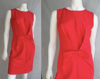 80s Linen Coral Orange Dress with Bow and Buttons Down the Side Mod Style - M