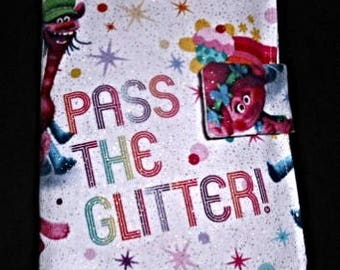 """Trolls """"Pass the Glitter"""" Doodle Wallet/Crayon Wallet features Poppy and Cooper - stocking stuffer, Christmas, birthday, party favor & more!"""