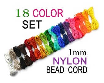 1mm Nylon Cord - 18 Colors for Blythe Pull String, Beading Thread, Kumihimo Bracelet Cording