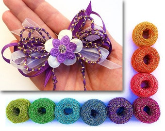 Hair Bow Ribbon Cord - 15 colors of Sparkling Yarn Cording for Gift Wrap, Scrapbooking, Millinery Embellishment, etc