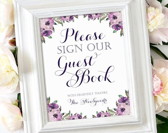 Please Sign Our Guest Book Sign   8 x 10   DIY Printable   Vintage   Eggplant   Purple Blooms   PDF and JPG Files   Instant Download
