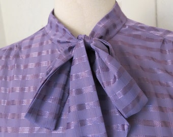 Purple vintage blouse with bow