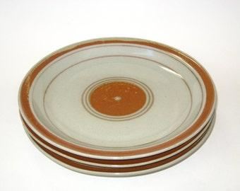 "Iron Mountain Stoneware Whispering Pines 11"" Dinner Plates Set of 3 -Vintage Nancy Patterson Lamb"