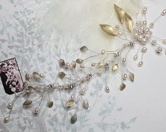 Fresh water Pearl Spray Gold Enamel Leaf Bridal Wedding Hair Vine Boho Headwear Hairvine