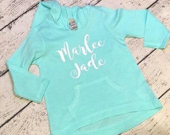 Infant & Girl's Lightweight Monogrammed Hoodie - Monogrammed Jacket - Girl's Pullover - Monogrammed Girl's sweatshirt - Monogram Shirt