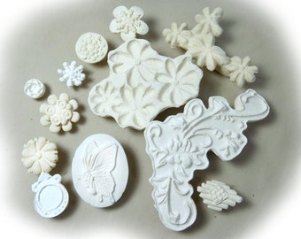 ceramic stamps - clay stamps -texture stamps -soap stamp -pottery stamps -One time grab bag of  ( 12 )  bisque stamps -  ( 287 )