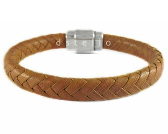 Exclusive gift for him - Spanish braided leather bracelet with antique silver magnetic clasp - custom made jewelry for him