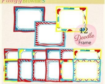 ON SALE Theme dr seuss Frame Clip Art : Whimsical Frame Clip Art, A-224 ,doodle frames clipart, digital scrapbook, kids party supplies