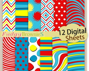 "ON SALE.> Dr Seuss digital paper, 12""x12"",  Dr Seuss kids birthday party paper pack, No.292/2 printable background, Instant download"