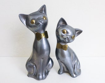 Vintage Mother Cat and Kitten - Metal Cat Figurines - Pewter Cats with Brass Bows - Gift for Her - Gift for Mother - Gift for Mom