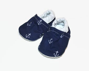 Nautical baby shoes anchor soft sole baby shoe baby slippers baby booties soft sole shoes vegan shoes boy girl shoes toddler slippers summer