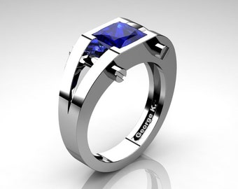 Modern 14K White Gold 1.25 Ct Princess Blue Sapphire Ring R394-14KWGBS