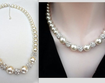 Chunky pearl necklace ~ Graduating pearl necklace ~ Brides pearl necklace ~ Swarovski pearls and LARGE crystals ~ Bridal jewelry ~LOLITA