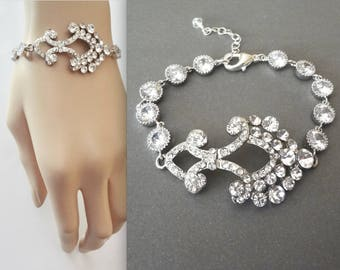 Crystal bracelet, Brides bracelet, Crystal wedding bracelet, Bridal bracelet, Wedding jewelry, Crystal bracelet,Cubic zirconia bracelet,ABRI