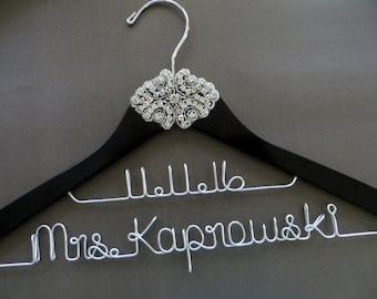 2 Line Hanger Black Wedding Hanger, RHINESTONE Wedding Dress Hanger, Two Line Hanger, Crystal Bride Hanger, Wedding Date Hanger, Bride Gift