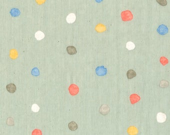 "Nani Iro double gauze, Colorful Pocho in ""Orchard"", pale green, orange, blue, by the yard"