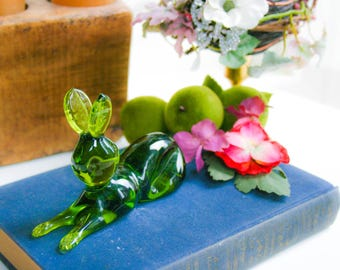 Mid Century, Blown Glass Bunny, Green Bunny Figurine, Green Glass Rabbit