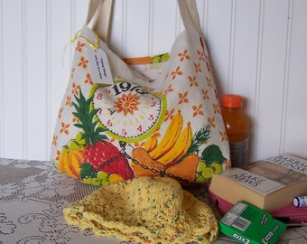 Cancer Patient Gift, Tote Bag from Vintage Calendar and Sleep Cap Hand Knit in Yellow Tweed with lace edge accent, Ships asap