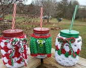 Christmas Clearance,3 Pint jars set with Christmas crochet cozys and lid and straws